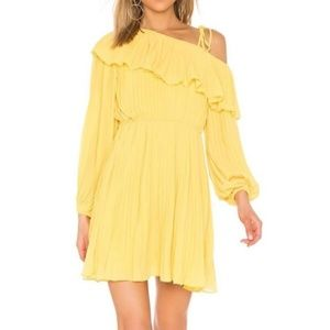 NWT Revolve Yellow Pleated One Shoulder Dr…